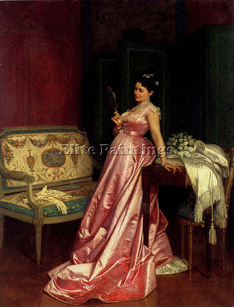 TOULMOUCHE AUGUSTE THE ADMIRING GLANCE ARTIST PAINTING REPRODUCTION HANDMADE OIL