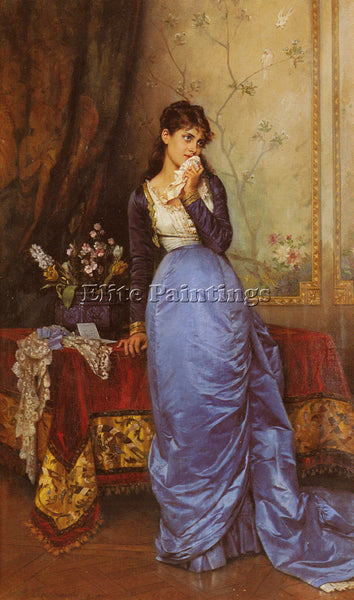 TOULMOUCHE AUGUSTE LETTER ARTIST PAINTING REPRODUCTION HANDMADE OIL CANVAS REPRO