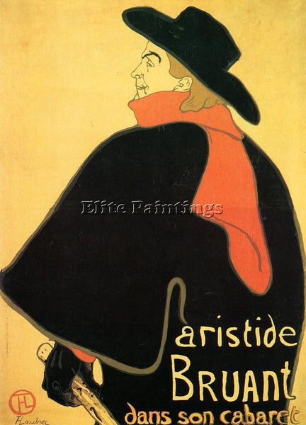 HENRI DE TOULOUSE-LAUTREC ARISTEDE BRUAND AT HIS CABARET ARTIST PAINTING CANVAS