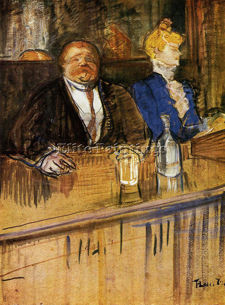 HENRI DE TOULOUSE-LAUTREC AT CAFE CUSTOMER AND ANEMIC CASHIER PAINTING HANDMADE