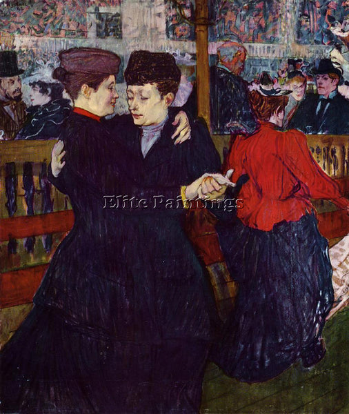 HENRI DE TOULOUSE-LAUTREC AT THE MOULIN ROUGE THE TWO WALTZERS PAINTING HANDMADE