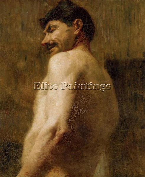 HENRI DE TOULOUSE-LAUTREC BUST OF A NUDE MAN ARTIST PAINTING HANDMADE OIL CANVAS