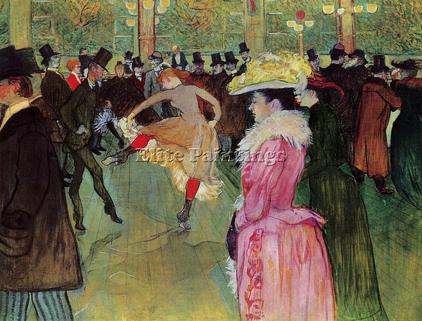 HENRI DE TOULOUSE-LAUTREC DANCE AT THE MOULIN ROUGE ARTIST PAINTING REPRODUCTION