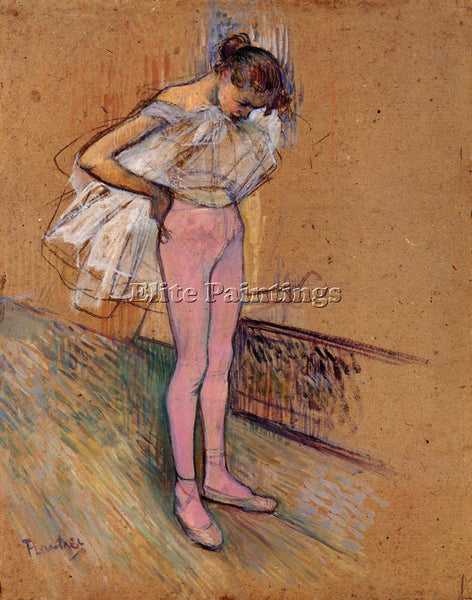 HENRI DE TOULOUSE-LAUTREC DANCER ADJUSTING HER TIGHTS ARTIST PAINTING HANDMADE