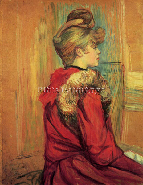HENRI DE TOULOUSE-LAUTREC GIRL IN A FUR MADEMOISELLE JEANNE FONTAINE OIL CANVAS