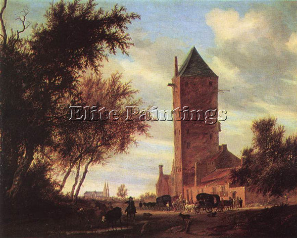 SALOMON VAN RUYSDAEL TOWER AT THE ROAD ARTIST PAINTING REPRODUCTION HANDMADE OIL