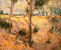 VAN GOGH TREES IN A FIELD ON A SUNNY DAY ARTIST PAINTING REPRODUCTION HANDMADE