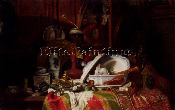 JACQUET TRINQUIER ANTOINE STILL LIFE WITH DISHES VASE CANDLESTICK OTHER OBJECTS