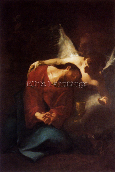 TROGER PAUL CHRIST COMFORTED BY AN ANGEL ARTIST PAINTING REPRODUCTION HANDMADE