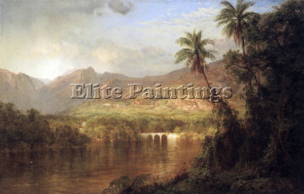 HUDSON RIVER TROPICAL SCENE BY FREDERICK EDWIN CHURCH ARTIST PAINTING HANDMADE