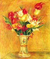RENOIR TULIPS IN A VASE ARTIST PAINTING REPRODUCTION HANDMADE CANVAS REPRO WALL