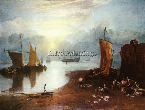TURNER SUN RISING THROUGH VAGOUR FISHERMEN CLEANING AND SELLILNG FISH ARTIST OIL