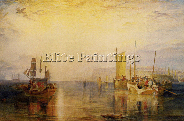 JOSEPH MALLORD WILLIAM TURNER SUNRISE WHITING FISHING AT MARGATE ARTIST PAINTING