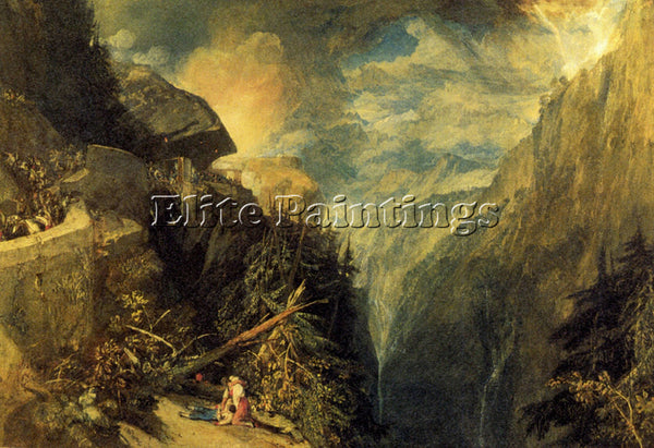 JOSEPH MALLORD WILLIAM TURNER THE BATTLE FORT ROCK VAL D AOSTE PIEDMONT PAINTING