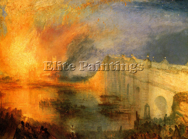 JOSEPH MALLORD WILLIAM TURNER THE BURNING HAUSE OF LORDS AND COMMONS OIL CANVAS