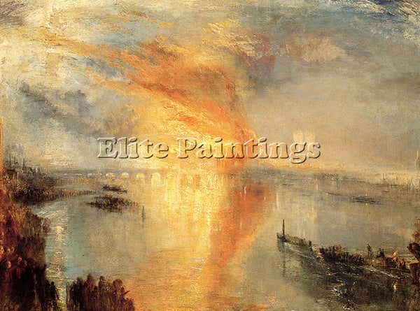 JOSEPH MALLORD WILLIAM TURNER THE BURNING HOUSE OF LORDS AND COMMONS OIL CANVAS