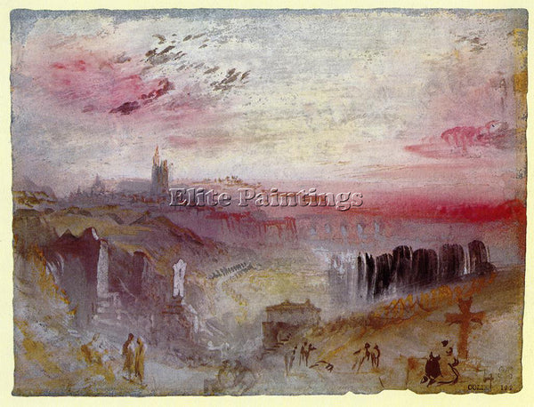 WILLIAM TURNER VIEW OVER TOWN AT SUSET CEMETERY IN FOREGROUND PAINTING HANDMADE