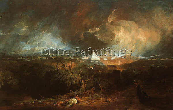 JOSEPH MALLORD WILLIAM TURNER THE FIFTH PLAGUE OF EGYPT 1800 ARTIST PAINTING OIL