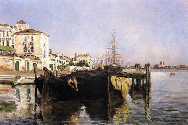 JOHN TWACHTMAN VIEW OF VENICE ARTIST PAINTING REPRODUCTION HANDMADE CANVAS REPRO