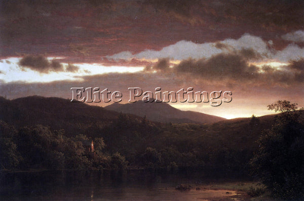 HUDSON RIVER TWILIGHT CATSKILL MOUNTAIN BY FREDERICK EDWIN CHURCH ARTIST CANVAS