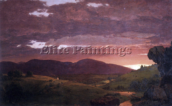 HUDSON RIVER TWILIGHT TWIXT DAY AND NIGHT BY FREDERICK EDWIN CHURCH PAINTING OIL