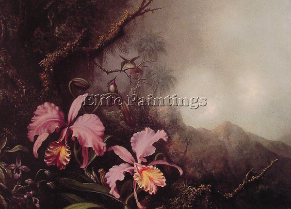 MARTIN JOHNSON HEADE TWO ORCHIDS IN A MOUNTAIN LANDSCAPE ARTIST PAINTING CANVAS