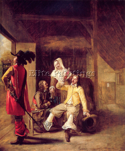 PIETER DE HOOCH TWO SOLDIERS AND A SERVING WOMAN WITH A TRUMPETER ARTIST CANVAS