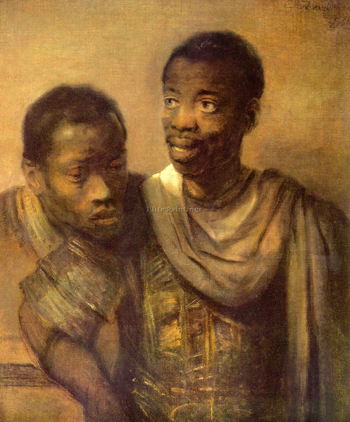 REMBRANDT TWO YOUNG AFRICANS ARTIST PAINTING REPRODUCTION HANDMADE CANVAS REPRO