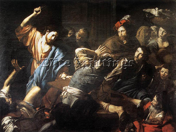 VALENTIN DE BOULOGNE CHRIST DRIVING THE MONEY CHANGERS OUT TEMPLE ARTIST CANVAS