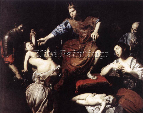 VALENTIN DE BOULOGNE THE JUDGMENT OF SOLOMON ARTIST PAINTING HANDMADE OIL CANVAS