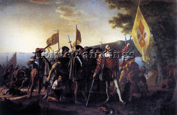 JOHN VANDERLYN COLUMBUS LANDING AT GUANAHANI 1492 ARTIST PAINTING REPRODUCTION