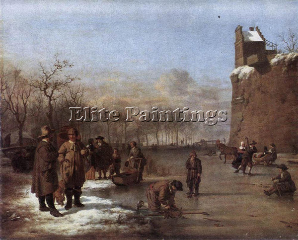 VELDE ADRIAEN VAN DE DE AMUSEMENT ON THE ICE ARTIST PAINTING HANDMADE OIL CANVAS