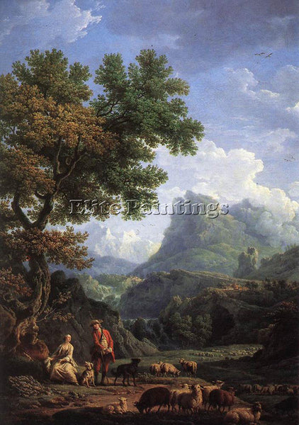 VERNET CLAUDE-JOSEPH SHEPHERD IN THE ALPS ARTIST PAINTING REPRODUCTION HANDMADE