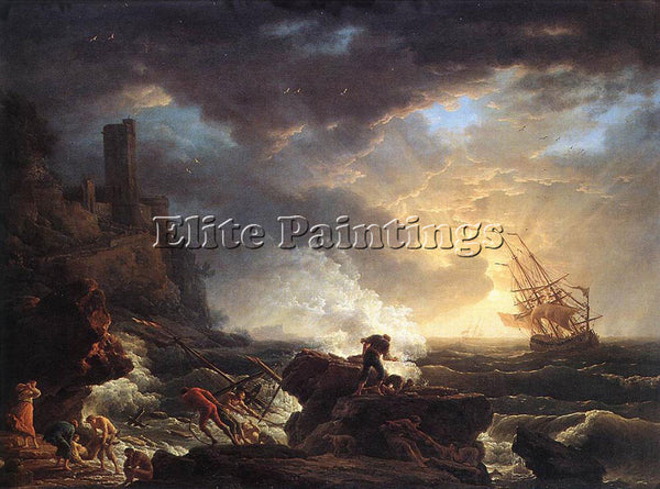 VERNET CLAUDE-JOSEPH SHIPWRECK ARTIST PAINTING REPRODUCTION HANDMADE OIL CANVAS