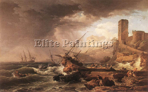 VERNET CLAUDE-JOSEPH STORM WITH A SHIPWRECK ARTIST PAINTING HANDMADE OIL CANVAS