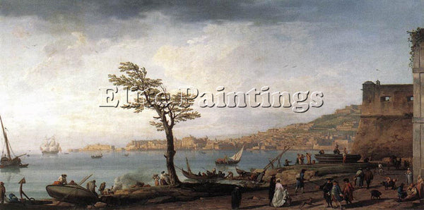 VERNET CLAUDE-JOSEPH VIEW OF NAPLES ARTIST PAINTING REPRODUCTION HANDMADE OIL