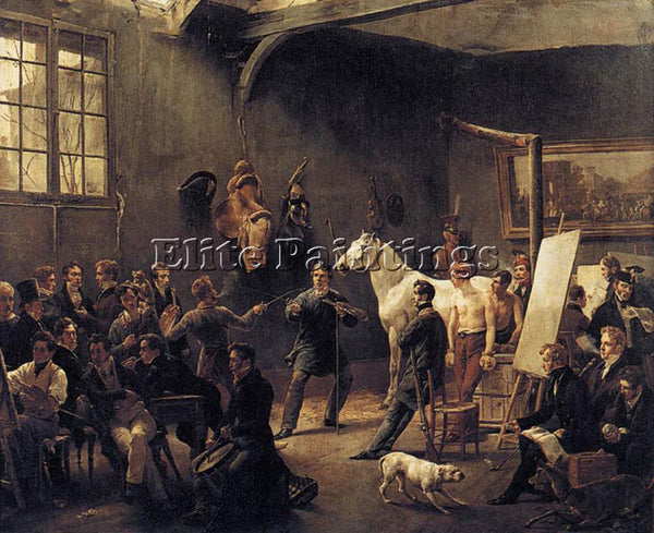 HORACE VERNET THE ARTISTS STUDIO ARTIST PAINTING REPRODUCTION HANDMADE OIL REPRO
