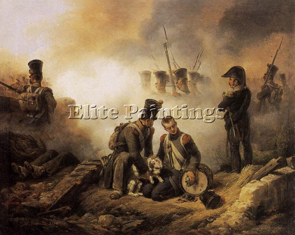 HORACE VERNET THE DOG OF THE REGIMENT WOUNDED ARTIST PAINTING REPRODUCTION OIL