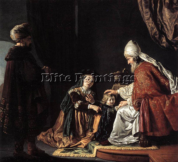 JAN VICTORS HANNAH GIVING HER SON SAMUEL TO THE PRIEST ARTIST PAINTING HANDMADE