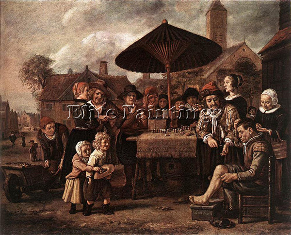 JAN VICTORS MARKET SCENE WITH A QUACK AT HIS STALL ARTIST PAINTING REPRODUCTION