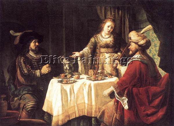 JAN VICTORS THE BANQUET OF ESTHER AND AHASUERUS ARTIST PAINTING REPRODUCTION OIL