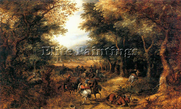 VINCKBOOMS DAVIDFOREST SCENE WITH ROBBERY ARTIST PAINTING REPRODUCTION HANDMADE