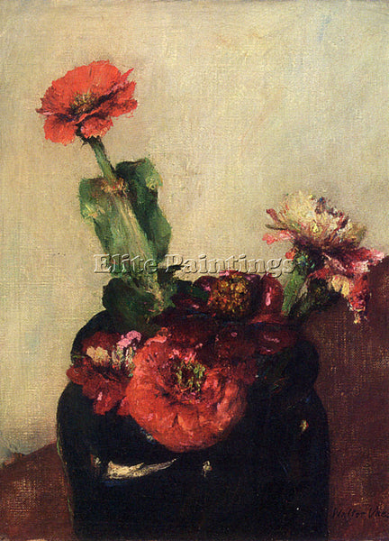 VAES WALTER RED FLOWERS IN A VASE ARTIST PAINTING REPRODUCTION HANDMADE OIL DECO