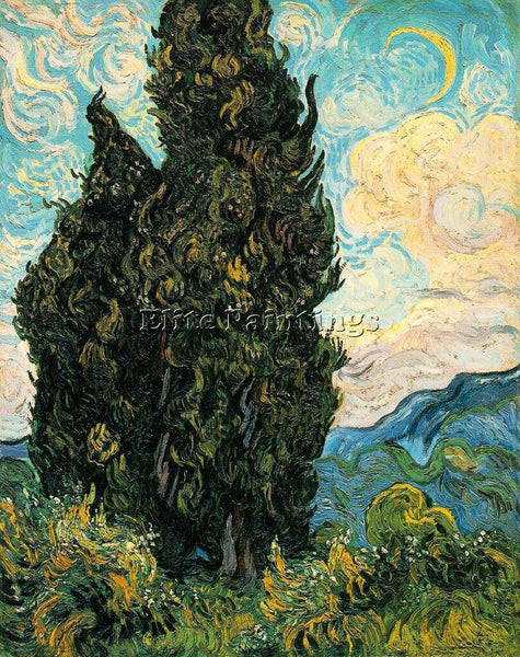 VAN GOGH CYPRESSES ARTIST PAINTING REPRODUCTION HANDMADE CANVAS REPRO WALL DECO