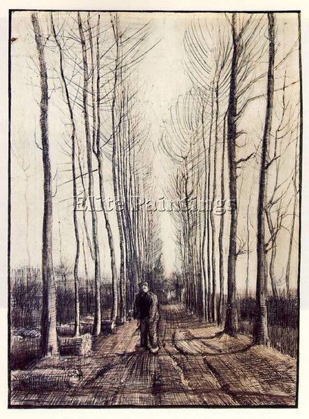 VAN GOGH LANE WITH POPLAR TREES ARTIST PAINTING REPRODUCTION HANDMADE OIL CANVAS