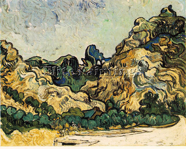 VAN GOGH MOUNTAINS AT SAINT REMY ARTIST PAINTING REPRODUCTION HANDMADE OIL REPRO