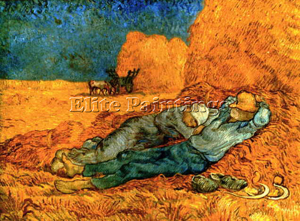 VAN GOGH NOON REST FROM WORK AFTER MILLET ARTIST PAINTING REPRODUCTION HANDMADE