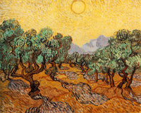 VAN GOGH OLIVE TREES WITH YELLOW SKY AND SUN ARTIST PAINTING HANDMADE OIL CANVAS
