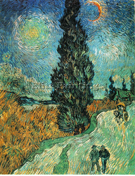 VAN GOGH ROAD WITH CYPRESS AND STAR ARTIST PAINTING REPRODUCTION HANDMADE OIL