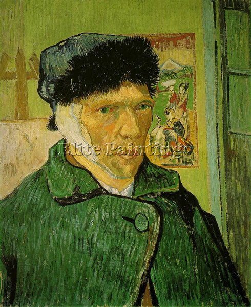VAN GOGH SELF PORTRAIT WITH BANDAGED EAR ARTIST PAINTING REPRODUCTION HANDMADE